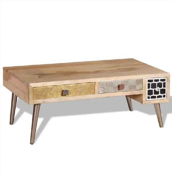 Mesa de centro con 2 cajones madera de mango 105x5