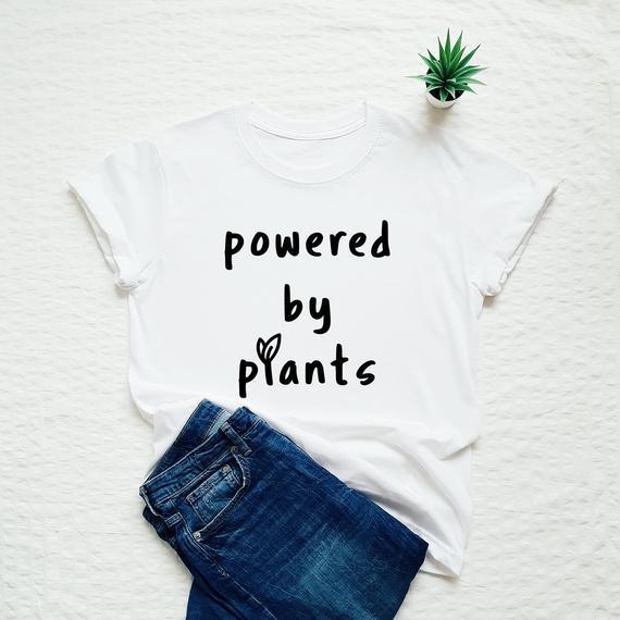Camisa vegana, propulsada por la camiseta de las plantas,