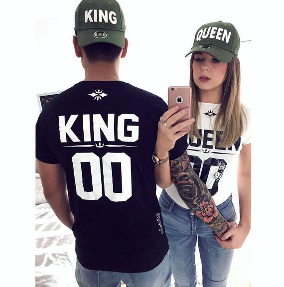 Camisas de rey y reina, camisas de pareja, camisetas de la