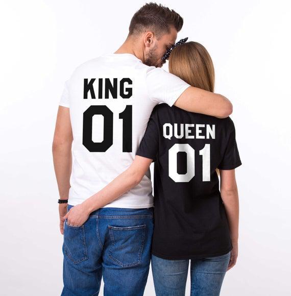 Camisetas king and queen, king 01, queen 01 couples