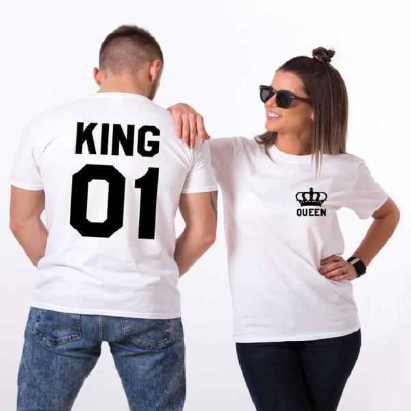 Camisetas king y queen con coronas, camisetas king y queen,