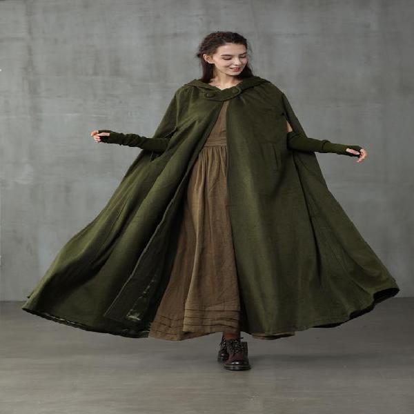 Capa de lino, capa de abrigo de lana con capucha maxi, 100%