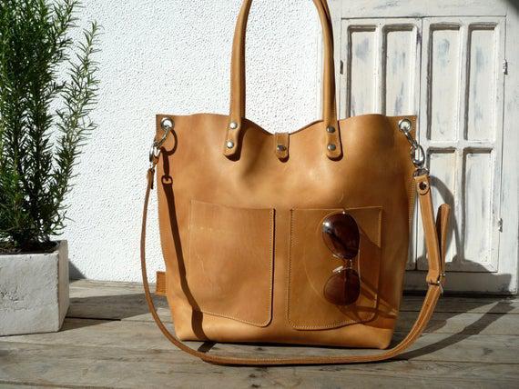 Cuero bolso, bolso grande de cuero, bolso de cuero, bolso de