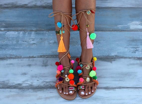 Hecho a mano a pedido sandalias decoradas