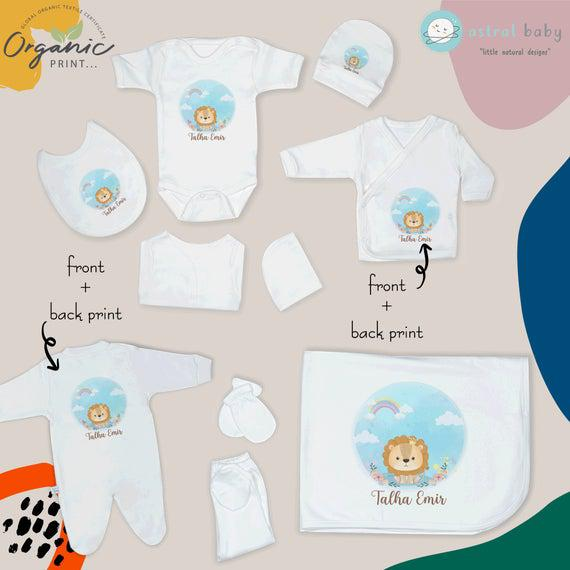 Lion baby coming home outfit set 10 piece, newborn clothes