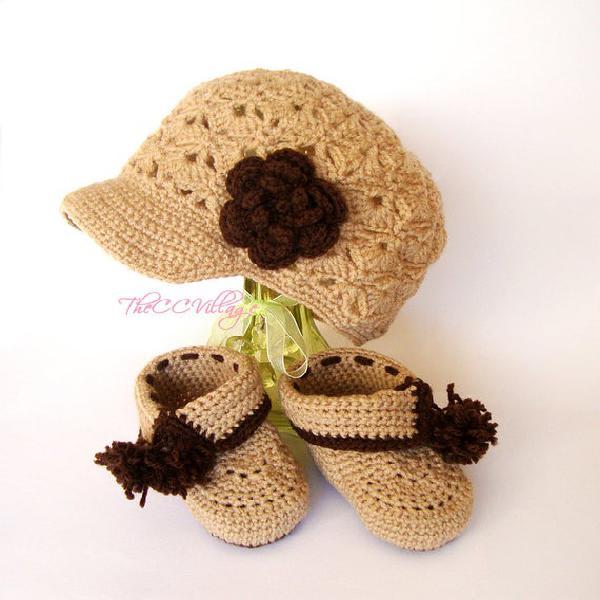 Marrón beige crochet bebé zapatos y sombrero conjunto,