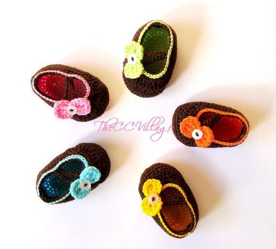 Marrón de ganchillo zapatos de bebé, zapatos de bebé