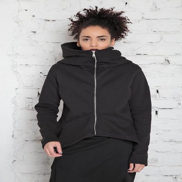Negro sudadera con capucha de gran tamaño mujeres, sudadera