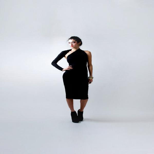 One sleeve pencil dress, asymmetric pencil dress, cold