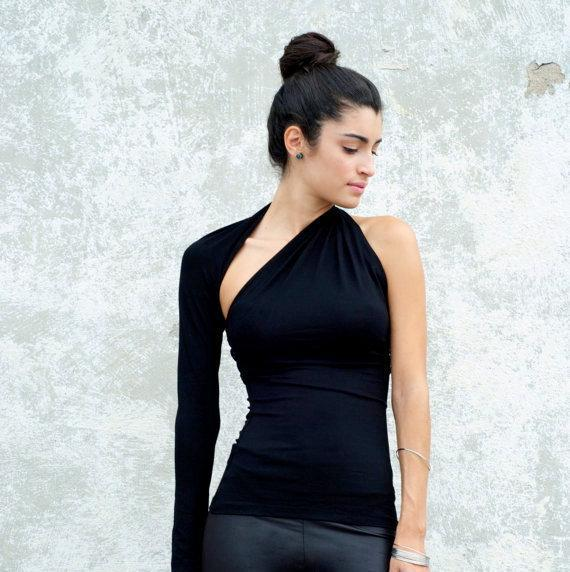 One sleeve top, one sleeve blouse, asymmetric shirt, one