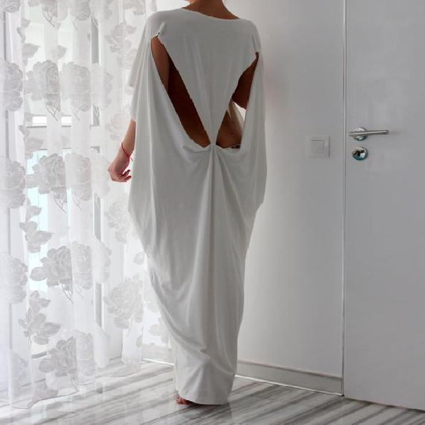 Vestido maxi blanco, vestido de kaftan, vestido sin espalda,