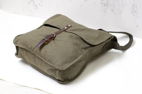 Vintage messenger bolsa verde ejército militar bolsa de