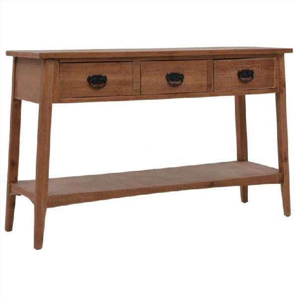Mesa consola de madera de abeto maciza marrón 126x