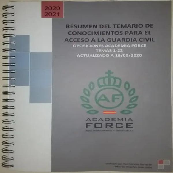 Temario resumen guardia civil