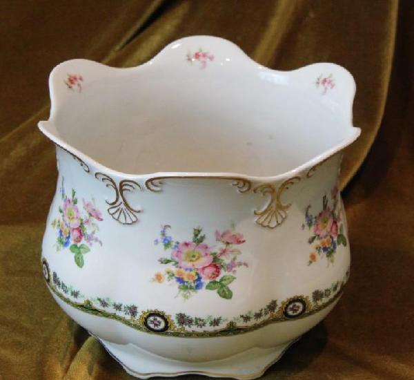Antiguo macetero porcelana, creaciones garrido, 19 cm