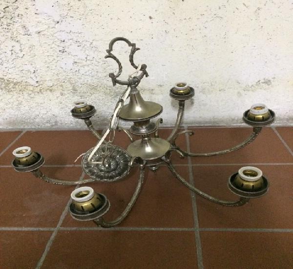Lámpara de techo de seis brazos metal plateado