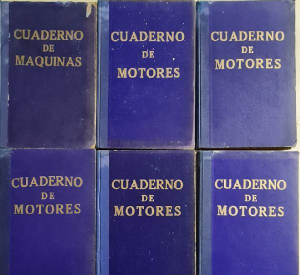 Lote de 6 volumnes de cuaderno de maquinas años 50. buques