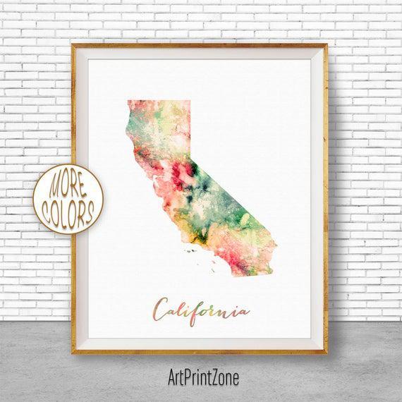 California mapa arte impresión california art print