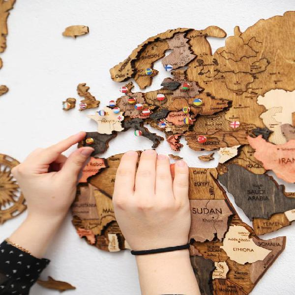 Christmas gift rustic wall map home decor gift wooden map