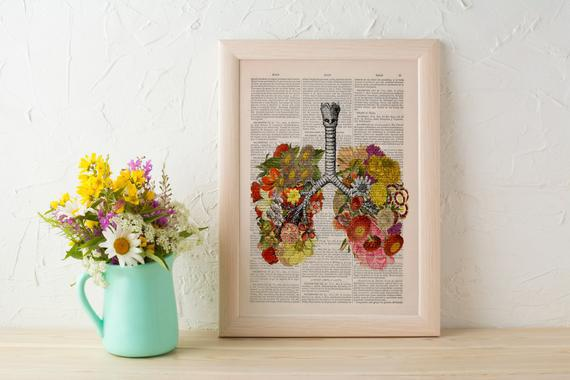 Christmas gift flowery lungs print - anatomical lungs -