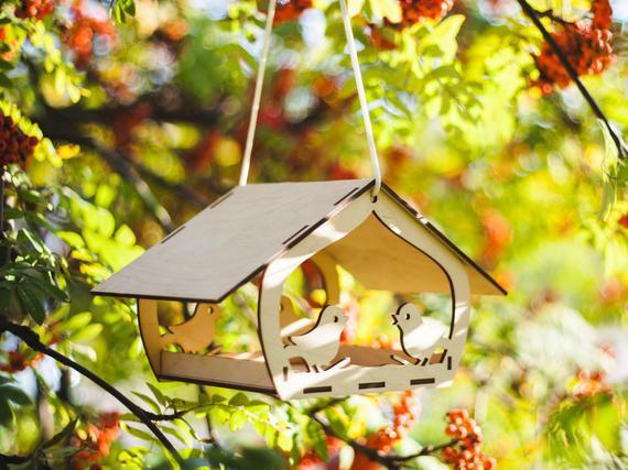 Comedero de aves / alimentador de aves de madera /