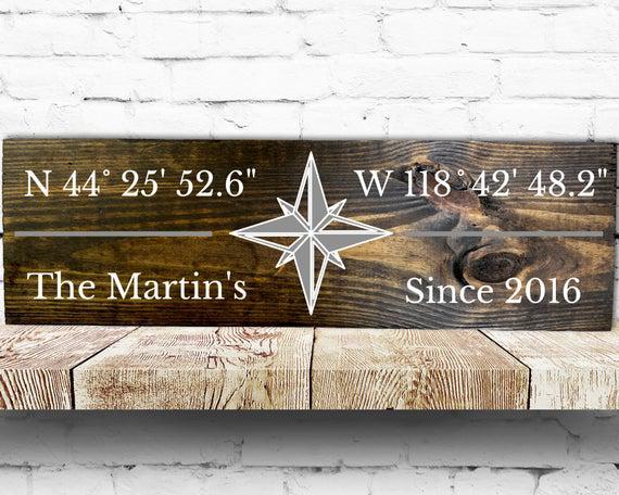 Firma de coordenadas gps, signo de madera personalizado,
