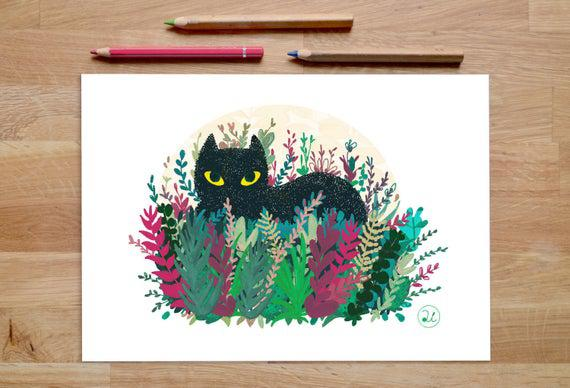 Impresión de gato negro, 8x5 o 11x8 pulgadas arte