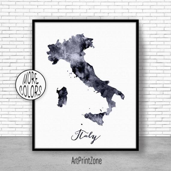 Italia impresión acuarela mapa italia mapa de arte mapa