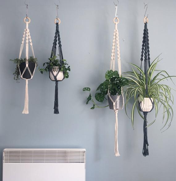La corona espiral macrame plant hanger // algodón natural