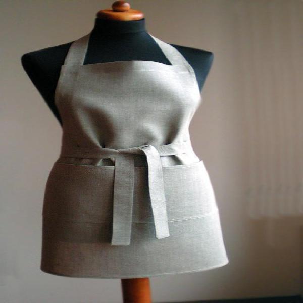 Lino natural completo delantal unisex marrón gris delantal