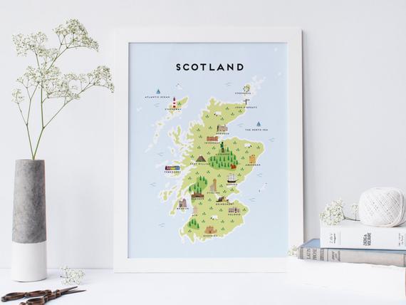 Mapa de escocia - mapa ilustrado de escocia imprimir /