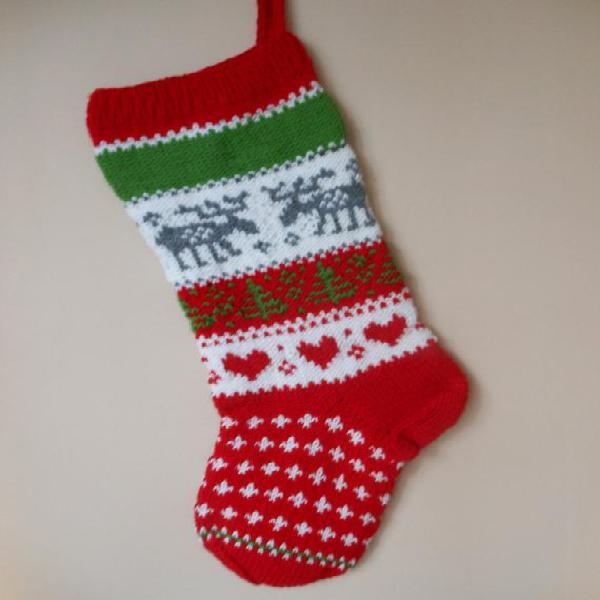 Media de navidad mano tejida con reno regalo de navidad