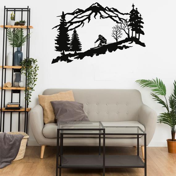 Metal pared decoración, metal skier pared arte, montaña y