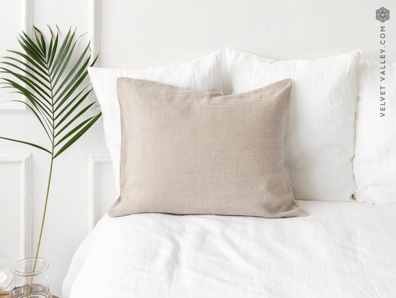 Natural unbleached funda de almohada de lino- no teñido de