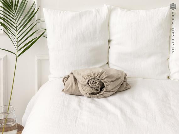Natural unbleached sábana ajustada sábana- sábana