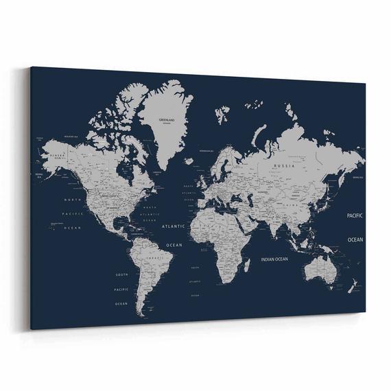 Navy push pin world map personalizado mapa mundial marina