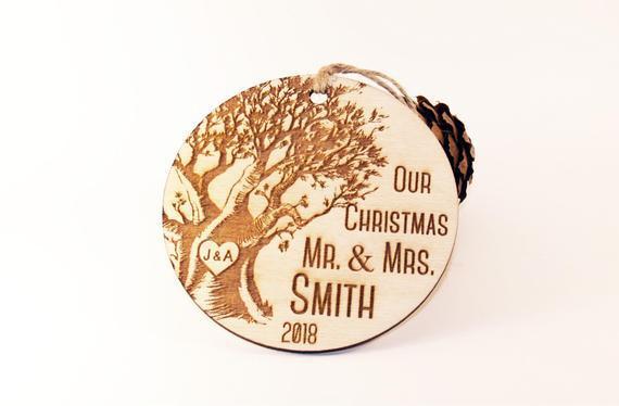 Nuestro adorno de navidad, ornamento recién casado,
