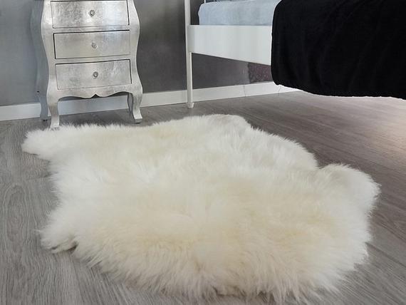 Original giant blanco genuino natural piel de oveja rugs