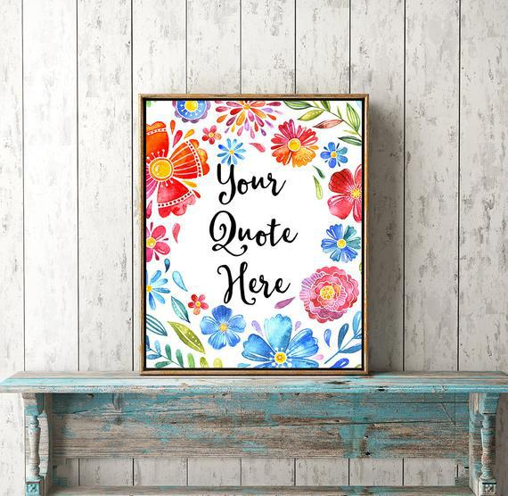 Palabras de pared cita imprimible personalizado floral