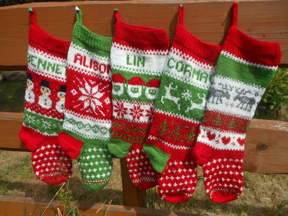 Personalizado medias de navidad mano tejer regalo de navidad