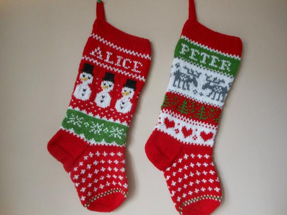 Personalizado medias de navidad mano tejido set de 2 medias