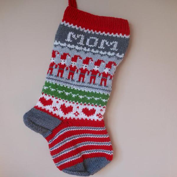 Personalizado navidad media mano tejida con gnomos regalo de