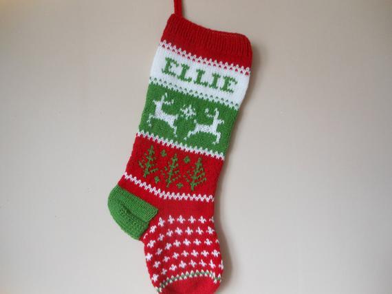Personalizado navidad media mano tejida con reno regalo de