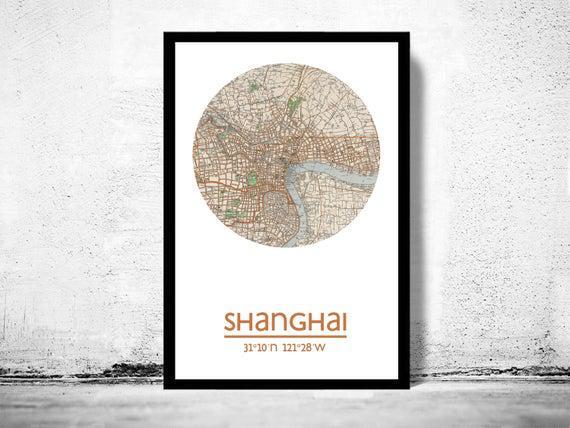 Shanghai - cartel de la ciudad - impresión del cartel del