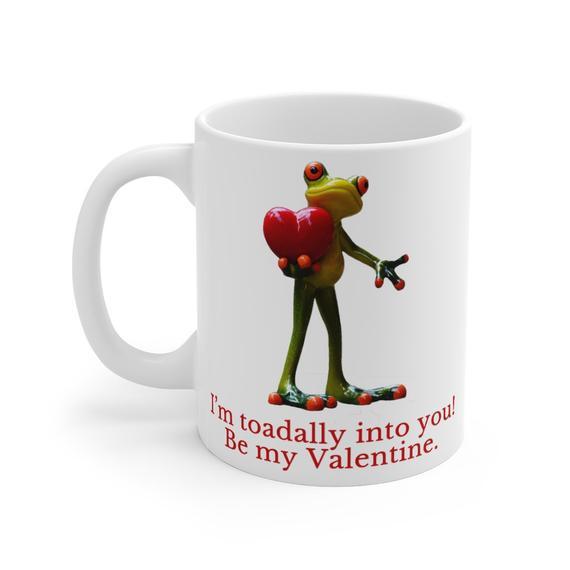Toadally into you funny valentines coffee mug