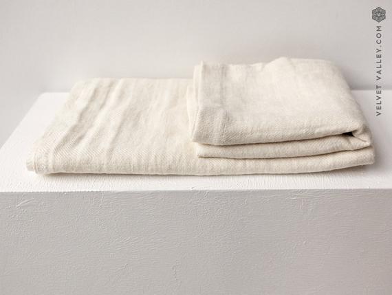 Toalla de baño de lino ivory white. juego de toallas para
