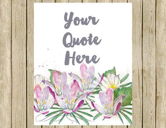 Pared de citar imprimible personalizado arte floral