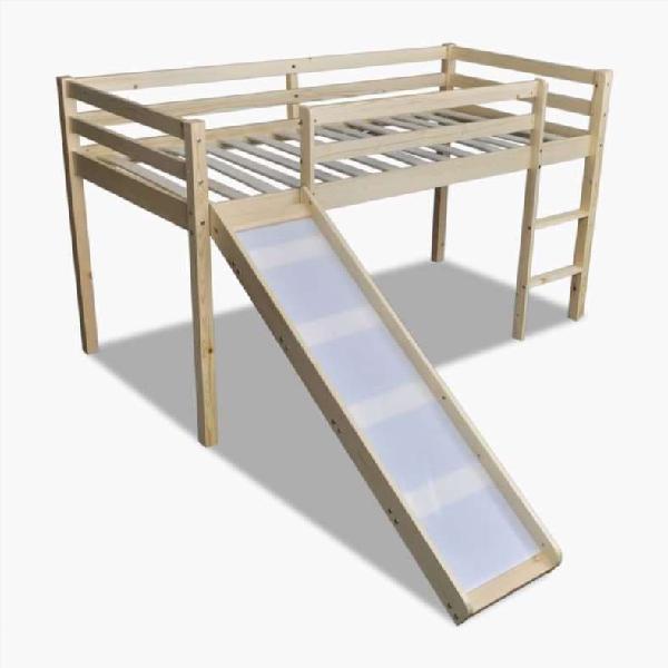 Cama alta para niños con tobogán y escalera madera