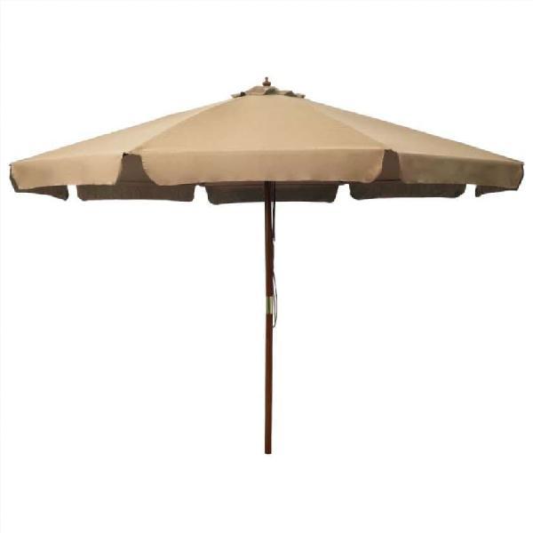 Sombrilla de jardín con palo de madera gris topo 3
