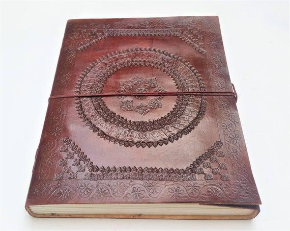 A4 leather journal, mandala leather journal, diario